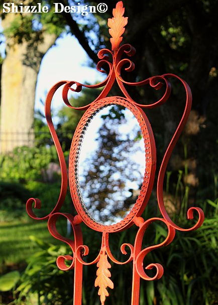 ornate children's mirror hand painted by shizzle design of grand rapids michigan coral reef, orange grove american paint company 3