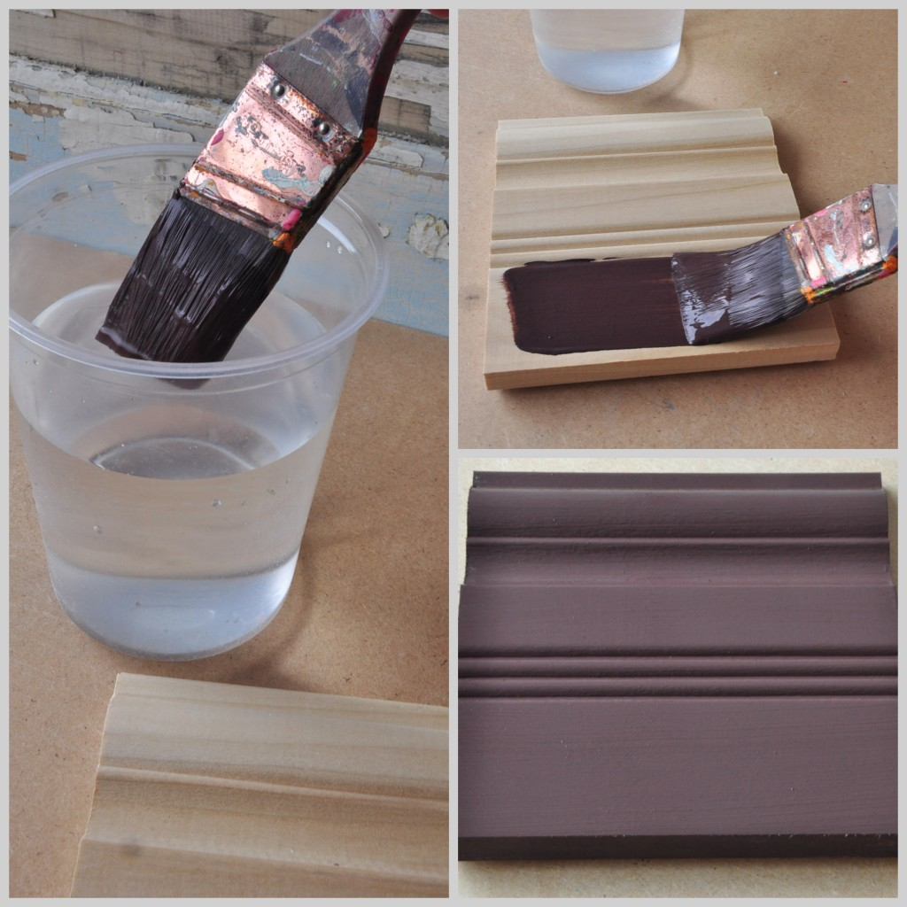 Creating a smooth finish by using water to thin the paint and laying the base coat down evenly with the grain on the piece.