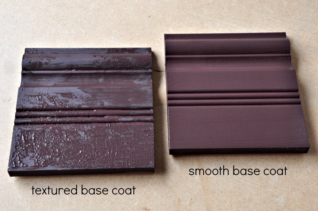 The base coats (in Wild Horses) for a textured finish and a smooth finish.