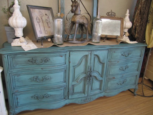 Dresser painted in Beach Glass with Black Wax