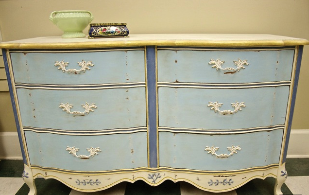 French Provincial Dresser painted with Blue Jeans, Limoges and Tea Cup and finished with Dark Wax.