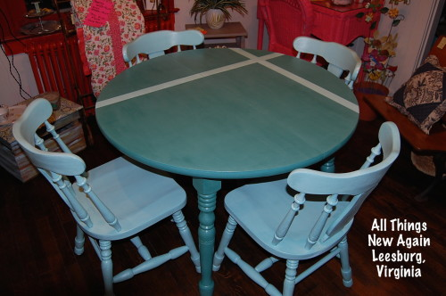 12. Turquoise Table and Chairs