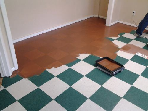 You can create a custom painted floor american paint for Can you paint over vinyl flooring