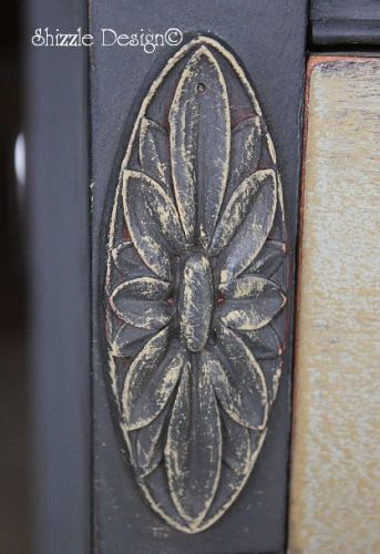 2 Vermont Slate Bowfront Dresser w Cinco Bayou Moss and Smoky Mountain close up detail 2 drybrushing Shizzle Design Grand Rapids Michigan CeCe Caldwell painted furniture workshops