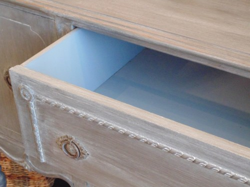 Kate Koch - Simply Beautiful Spaces - Close up of Tarnished Platter inside drawers