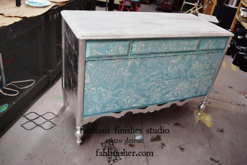 Silver leaf on dresser sides and detail