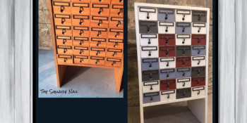 Repainting an Old Card Catalog (Solid Oak)