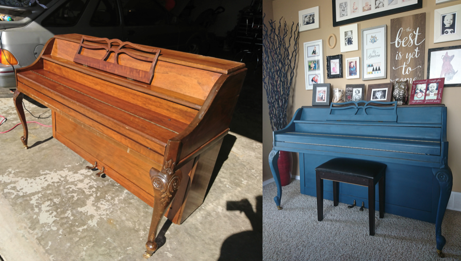Chalk Painting a Piano Before and After