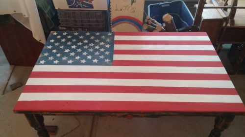 Farm House Style Kitchen Table Painted Red, White and Blue