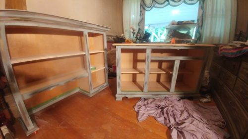 Age a hutch with vintage antiquing wax